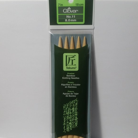 "5-Pack Knitting Needles Clover Takumi Bamboo Double Point 7/"" Size 5 18cm"